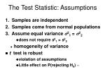 the test statistic assumptions