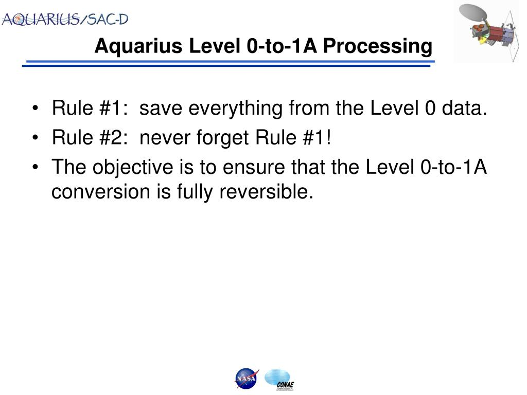 aquarius level 0 to 1a processing l.
