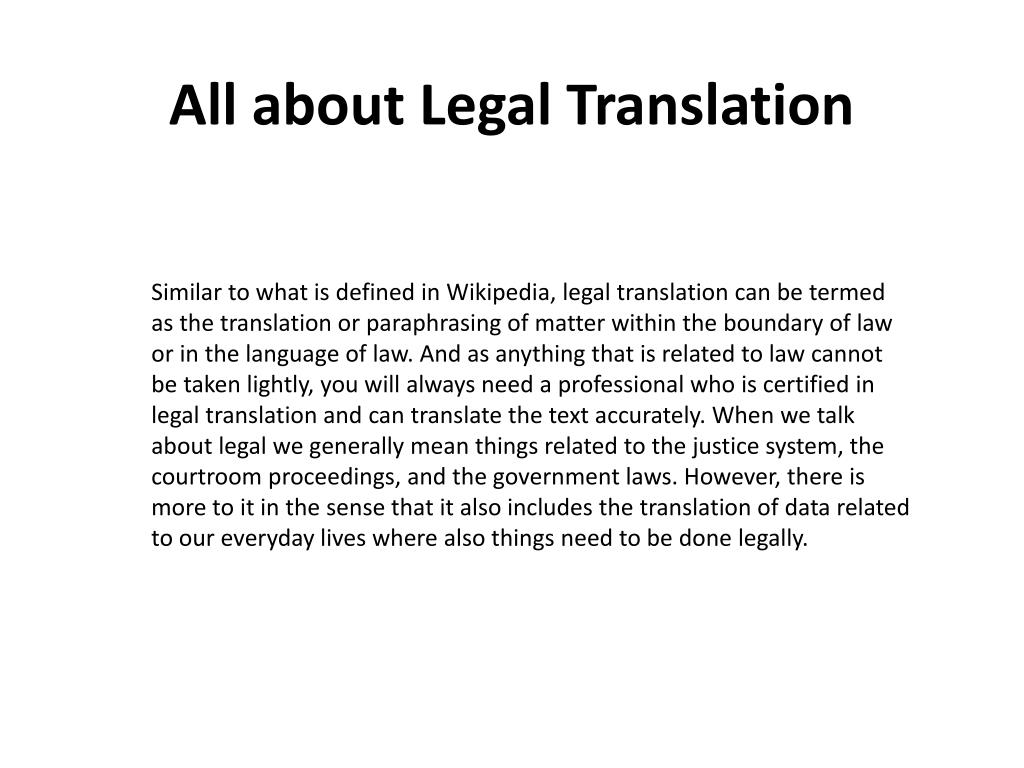 all about legal translation l.