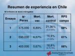 resumen de experiencia en chile