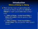 introduction ethics of doing vs being