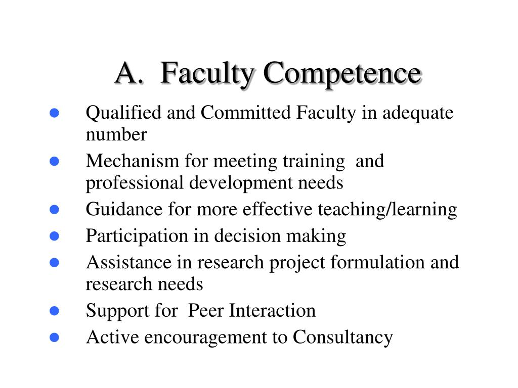 A.  Faculty Competence