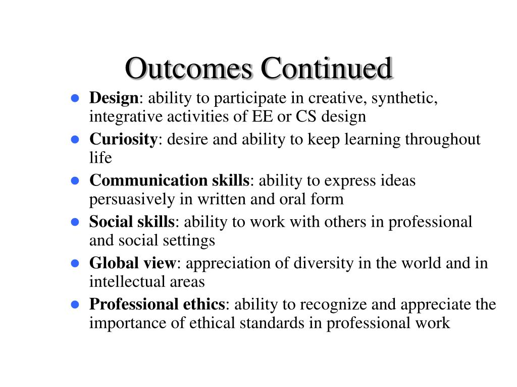 Outcomes Continued