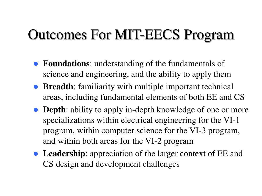 Outcomes For MIT-EECS Program