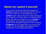 option a patent it yourself
