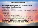 canonicity of the ot