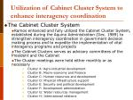 utilization of cabinet cluster system to enhance interagency coordination