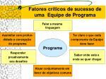 fatores cr ticos de sucesso de uma equipe de programa