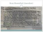 rosy rosenthal anecdote