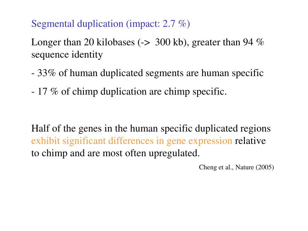 Segmental duplication (impact: 2.7 %)