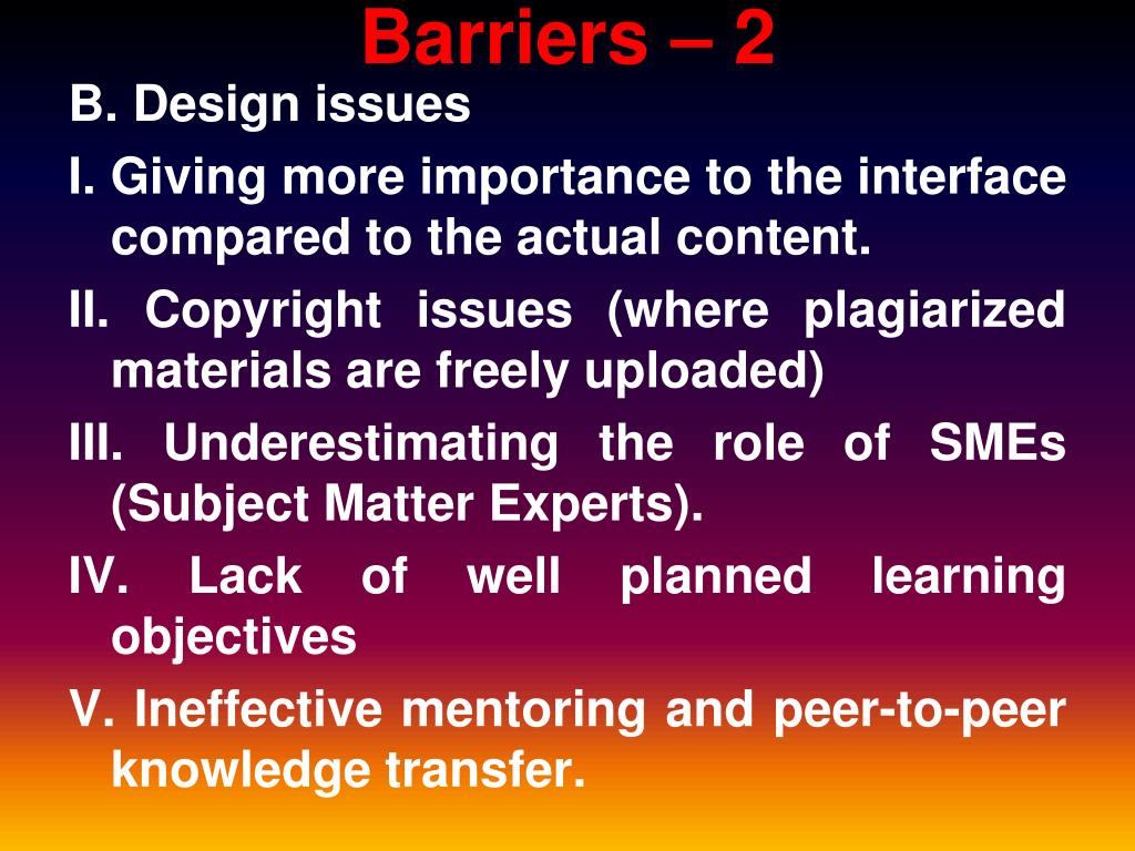 Barriers – 2
