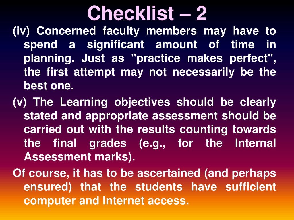 Checklist – 2
