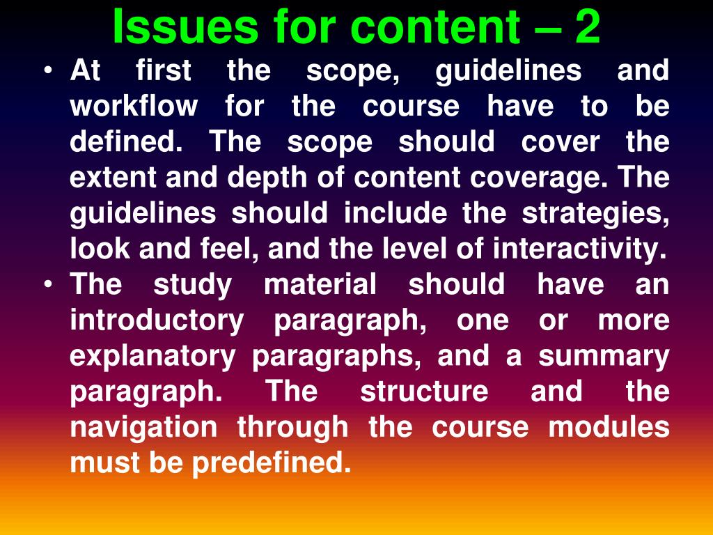 Issues for content – 2