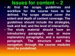 issues for content 2