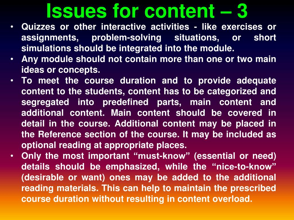 Issues for content – 3