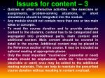 issues for content 3