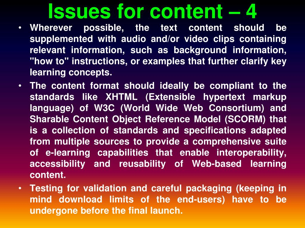 Issues for content – 4