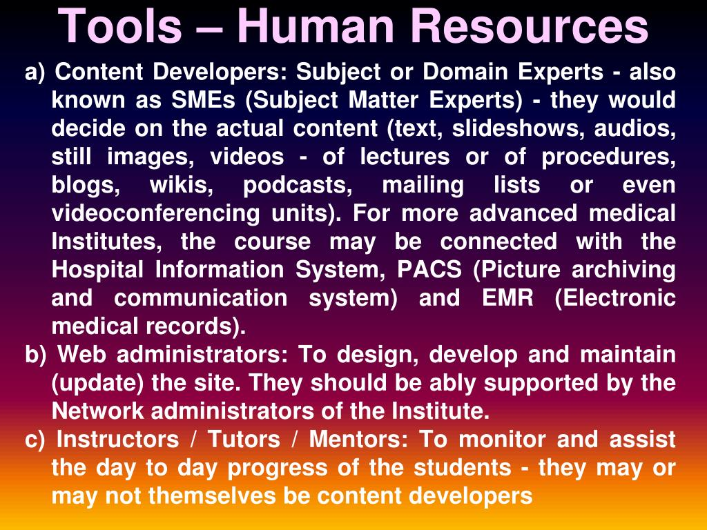 Tools – Human Resources