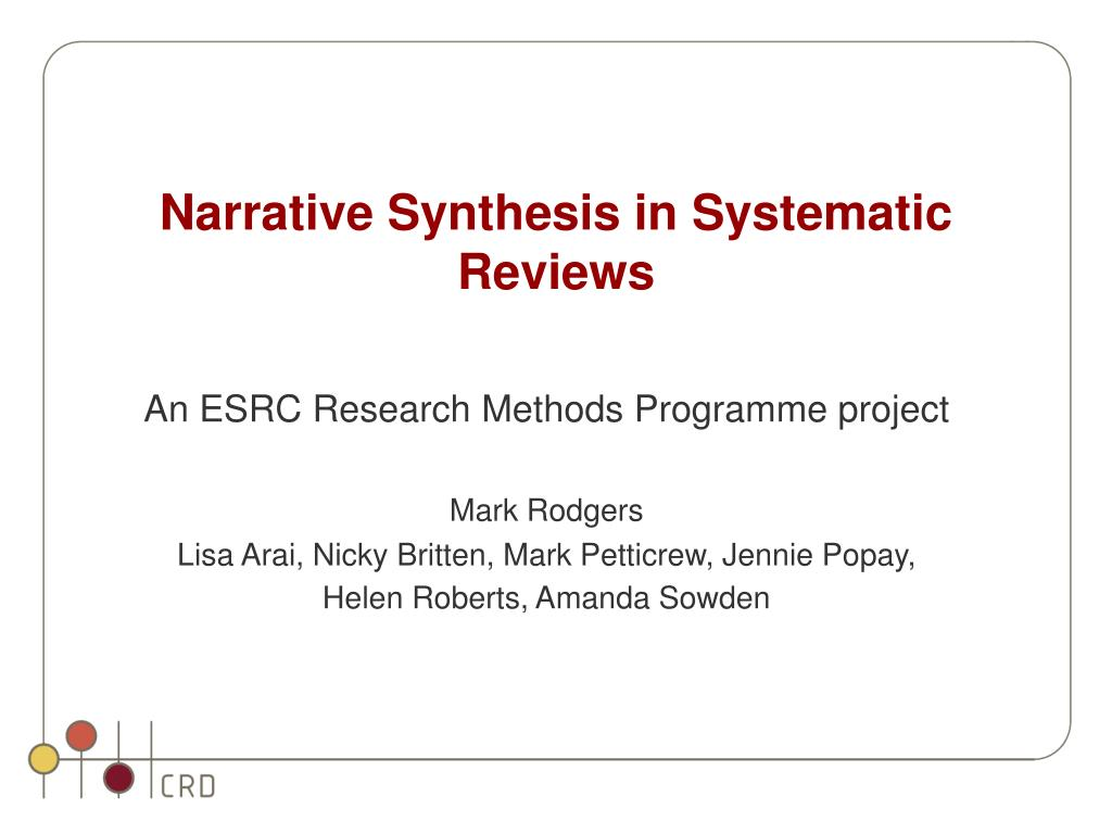 narrative synthesis in systematic reviews l.