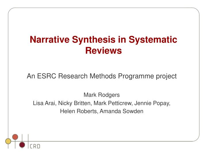 narrative synthesis in systematic reviews n.