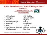 m ori frameworks health perspectives continued te wheke rose pere 1991 the octopus