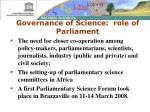 governance of science role of parliament