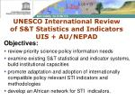 unesco international review of s t statistics and indicators uis au nepad