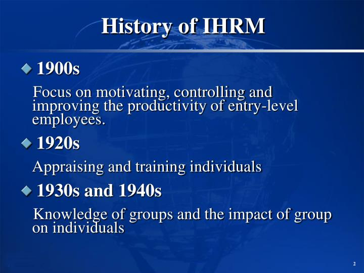 History of ihrm