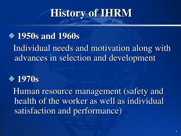 History of ihrm3