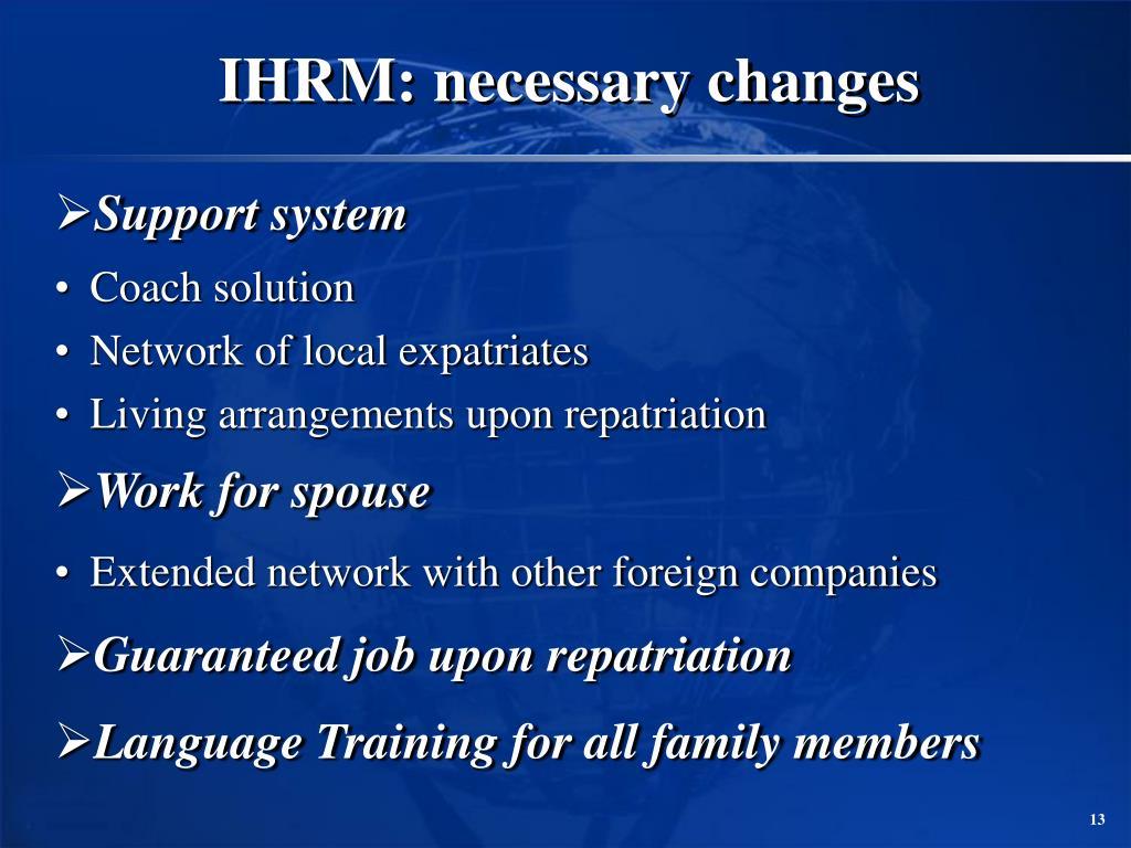 IHRM: necessary changes
