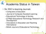 academia status in taiwan