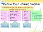 ideas of the e learning program