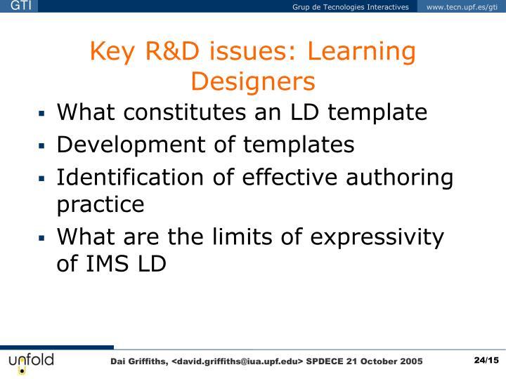 Key R&D issues: