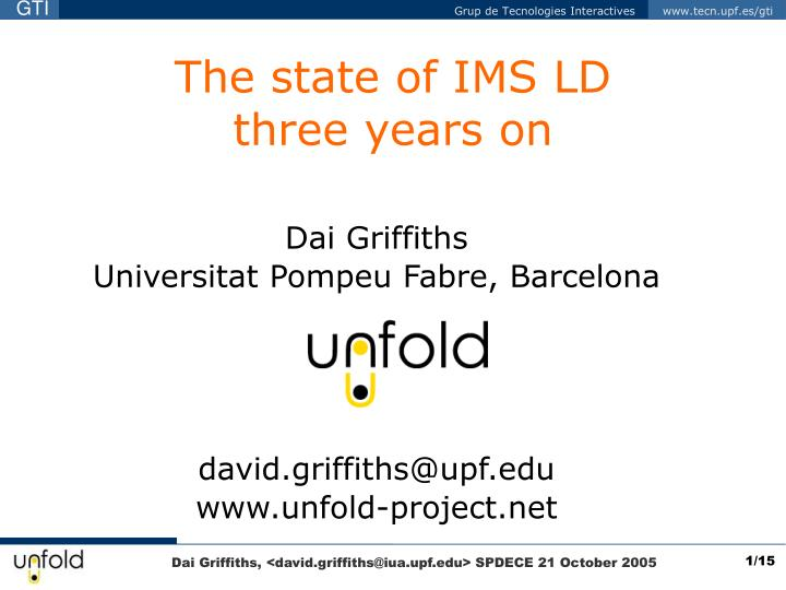 the state of ims ld three years on n.