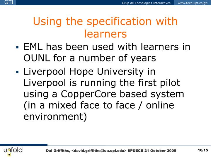 Using the specification with learners