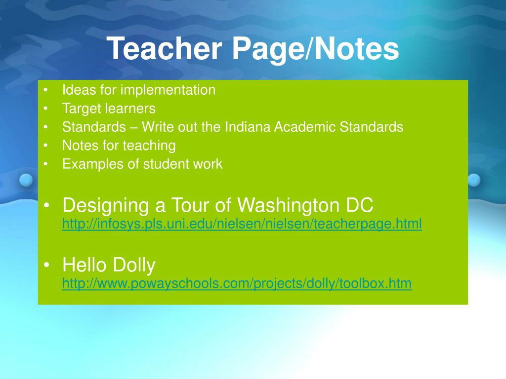Teacher Page/Notes