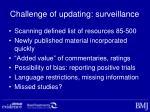 challenge of updating surveillance