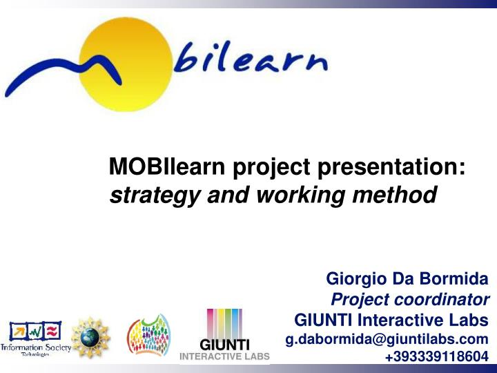 mobilearn project presentation strategy and working method n.