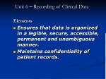 unit 6 recording of clinical data