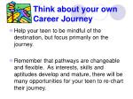 think about your own career journey