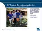 bif enabled online communications