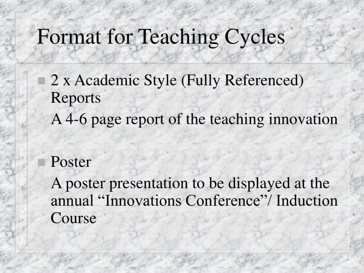 Format for Teaching Cycles