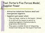 tool porter s five forces model supplier power