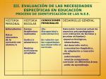 iii evaluaci n de las necesidades espec ficas en educaci n proceso de identificaci n de las n e e
