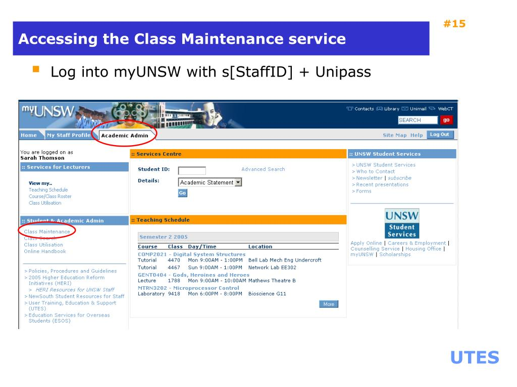 Accessing the Class Maintenance service