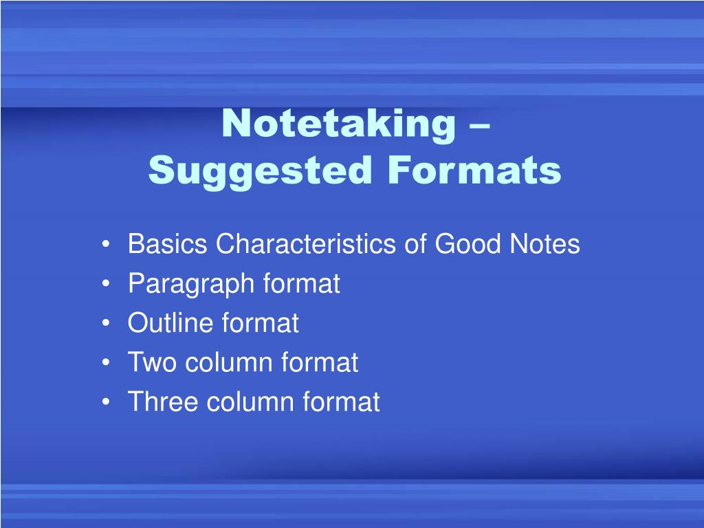 Notetaking –