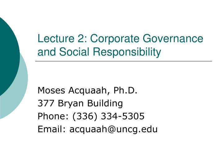 lecture 2 corporate governance and social responsibility n.