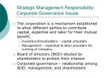strategic management responsibility corporate governance issues