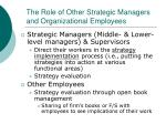 the role of other strategic managers and organizational employees1