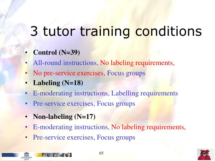 3 tutor training conditions